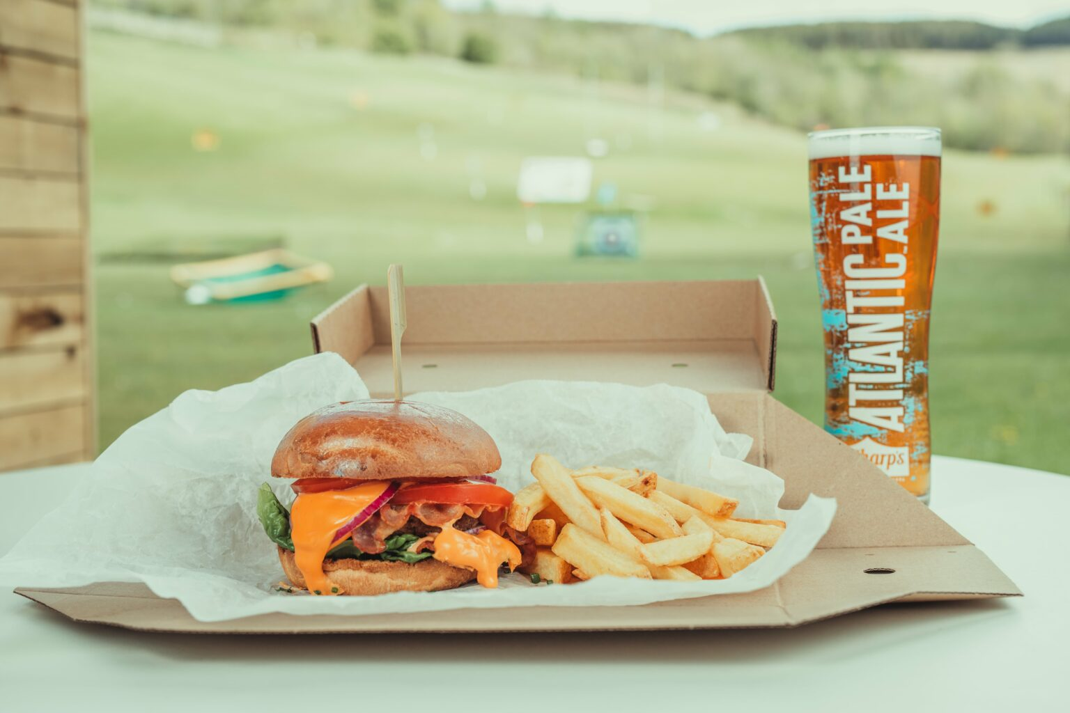 American Golf burger and chips